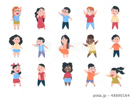 Cartoon children. Boy and girl school characters, happy little child, elementary school group 48890164