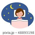 女性 睡眠 寝るのイラスト 48893198