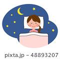 女性 睡眠 寝るのイラスト 48893207