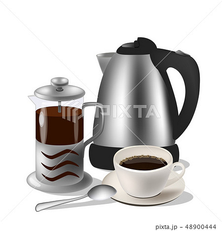 Vector illustration of coffe set. Kettle, french press and cup with spoon 48900444