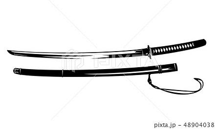 samurai katana sword black vector design 48904038