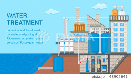Water Treatment System Banner with Text Space 48905641