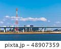 (東京都-都市風景)荒川岸から望む首都高速と江戸川区の風景3 48907359