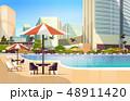 リゾート プール 傘のイラスト 48911420
