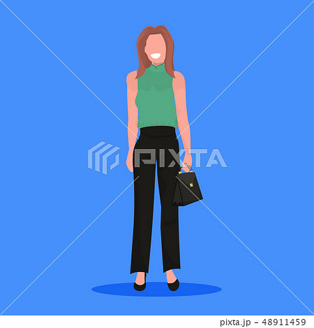 attractive businesswoman holding handbag standing pose smiling brown hair business woman office 48911459