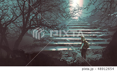 stone stairs in the mysterious forest 48912654