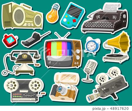 Vintage devices icons. Retro tech media, Television tv, Audio radio music, Electronic sound 48917620
