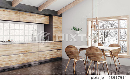 Modern wooden kitchen interior 3d rendering 48917914