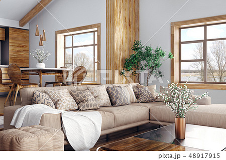 Interior of modern living room and kitchen 3d 48917915