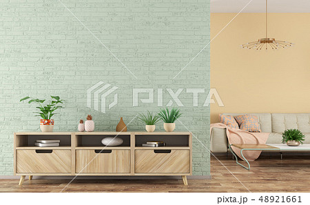 Modern interior of living room with wooden 48921661