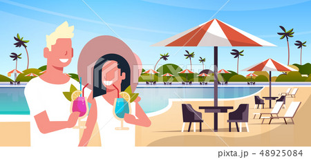 happy couple drinking cocktails relaxing by swimming pool man woman having fun together summer 48925084