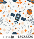 Vector illustration on the theme of space travel. Hand drawing seamless doodle pattern. 48928820