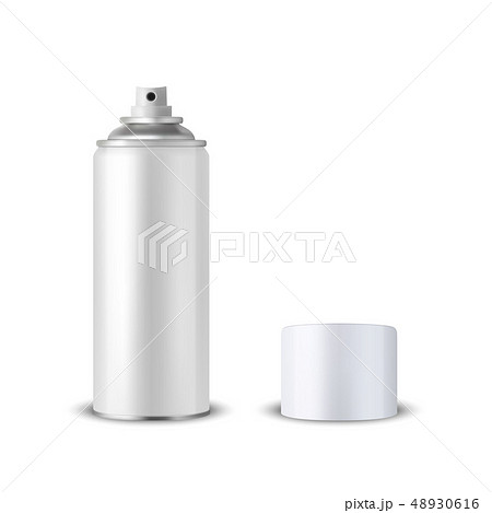 Vector 3d Realistic White Blank Spray Can, Spray Bottle with Cap Closeup Isolated on White 48930616