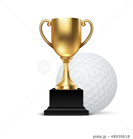 Realistic Vector 3d Blank Golden Champion Cup Icon wirh Golf Ball Set Closeup Isolated on White 48930618