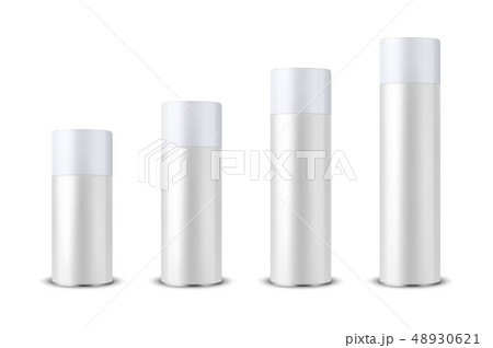 Vector 3d Realistic White Blank Spray Can, Spray Bottle with Cap Set Closeup Isolated on White 48930621