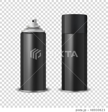 Vector 3d Realistic Black Blank Spray Can, Spray Bottle with Cap Closeup Isolated on Transparent 48930623