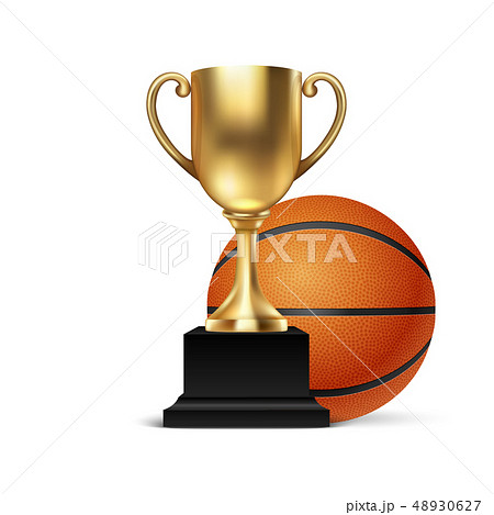 Realistic Vector 3d Blank Golden Champion Cup Icon wirh Basketball Set Closeup Isolated on White 48930627