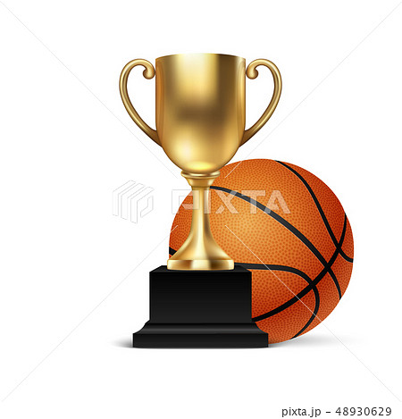 Realistic Vector 3d Blank Golden Champion Cup Icon wirh Basketball Set Closeup Isolated on White 48930629