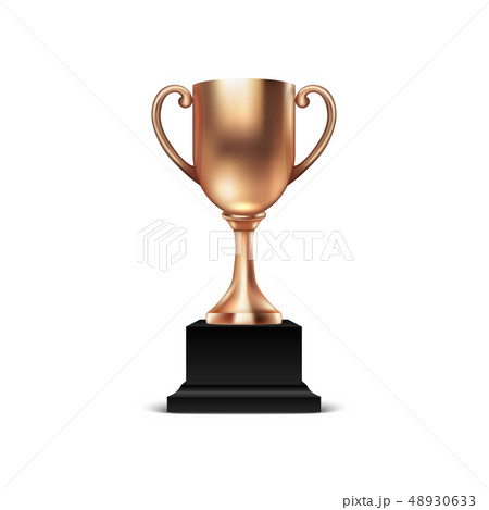 Realistic Vector 3d Blank Bronze Champion Cup Icon Closeup Isolated on White Background. Design 48930633