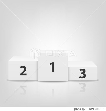 Realistic Vector 3d White Winners Podium Closeup Isolated on White Background. Victory, Award 48930636