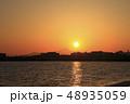 東京湾 臨海地区に沈む夕陽 富士山 48935059