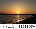 東京湾 臨海地区に沈む夕陽 富士山 48935060