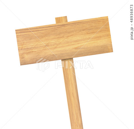 Wooden sign isolated on white background 48936873