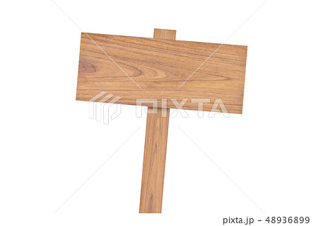 Wooden sign isolated on white background 48936899