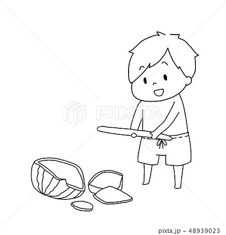 スイカわりをする男の子 48939023