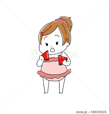 スイカを食べる女の子 48939028