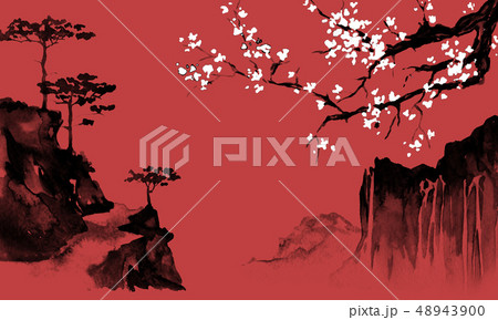 Japan traditional sumi-e painting. Indian ink illustration. Japanese picture. Sakura and mountains 48943900