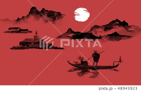 Japan traditional sumi-e painting. Indian ink illustration. Man and boat. Mountain landscape. Sunset 48943923