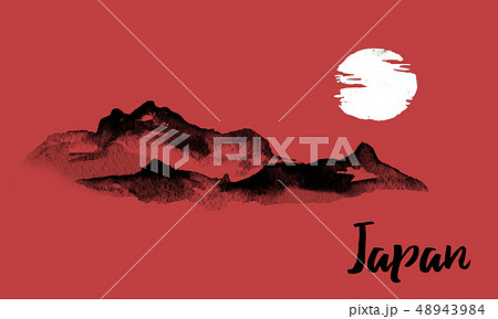 Japan traditional sumi-e painting. Indian ink illustration. Hills and mountains. Japanese picture. 48943984
