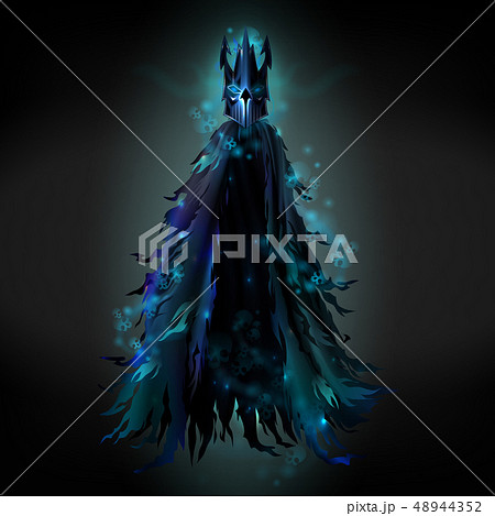 Evil spirit in black ragged cloak vector 48944352