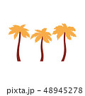 Three palm trees icon with orange leaves in flat cartoon style. 48945278