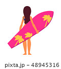 Young woman surfer in cartoon style standing backside with pink surfboard. 48945316