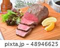 ローストビーフ、肉料理、手作り。国産交雑牛の牛モモ肉ブロックを使ったローストビーフです。 48946625