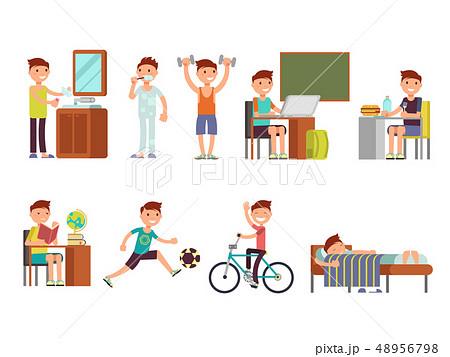Child boy daily routine vector set 48956798