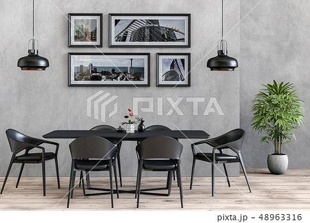 interior with table chair and lamp on wall  48963316
