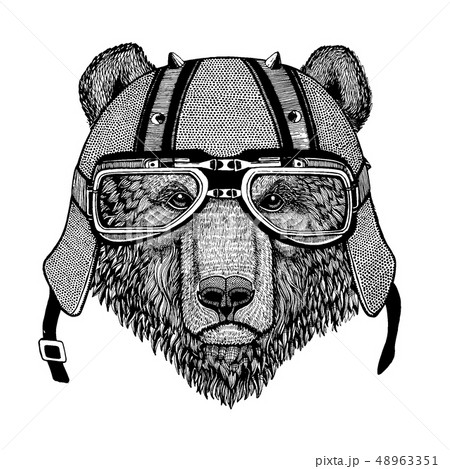 Bear wearing a motorcycle, aero helmet. Hand drawn image for tattoo, t-shirt, emblem, badge, logo 48963351