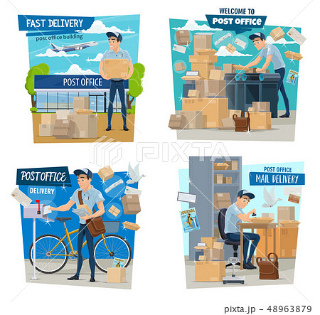 Postman or mailman, parcels delivery, post office 48963879
