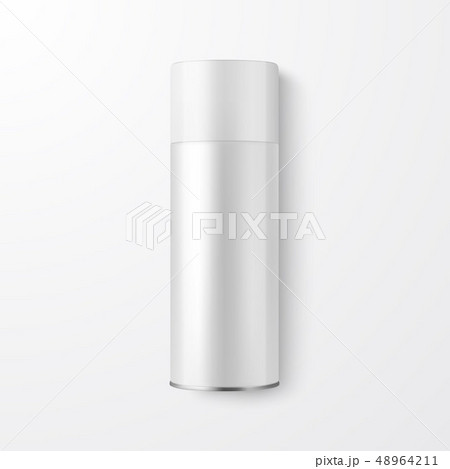 Vector 3d Realistic White Blank Spray Can, Spray Bottle Closeup Isolated on White Background. Design 48964211