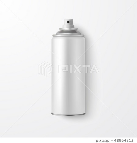 Vector 3d Realistic White Blank Spray Can, Spray Bottle Closeup Isolated on White Background. Design 48964212