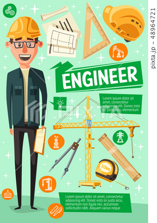 Builder, engineer or worker, cartoon man 48964721
