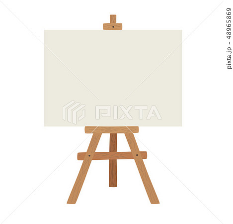 Blank art board and realistic wooden easel. Wooden brown easel with Mock Up empty blank canvas 48965869