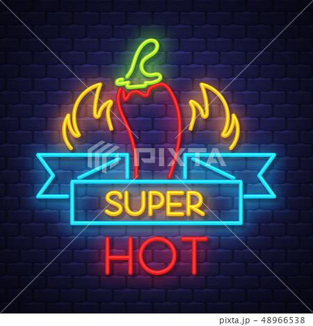 Super hot pepper- Neon Sign Vector on brick wall 48966538