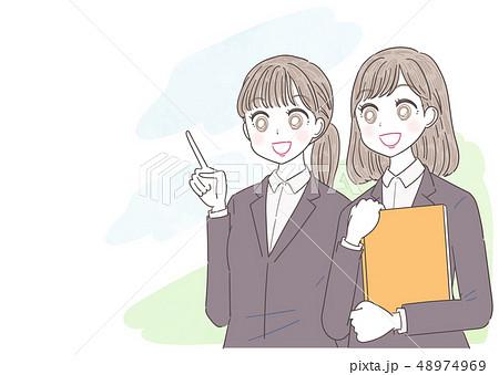 ビジネスウーマン 就活生 会社員 若い女性 2人 48974969