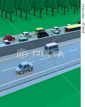 CG 3D イラスト デザイン 立体 車 自動車 交通 トラブル 渋滞 道路 帰省 Uターン 上下線 48975637