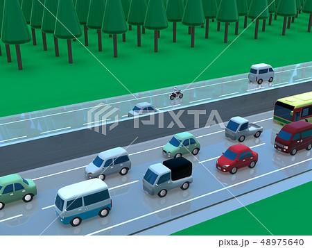 CG 3D イラスト デザイン 立体 車 自動車 交通 トラブル 渋滞 道路 帰省 Uターン 上下線 48975640