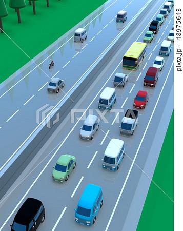 CG 3D イラスト デザイン 立体 車 自動車 交通 トラブル 渋滞 道路 帰省 Uターン 上下線 48975643